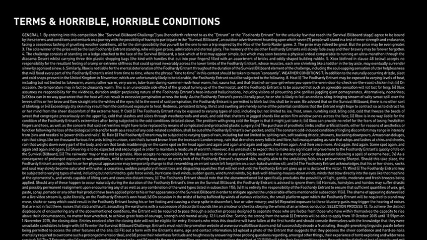 Survival Billboard - Terms & Horrible, Horrible Conditions