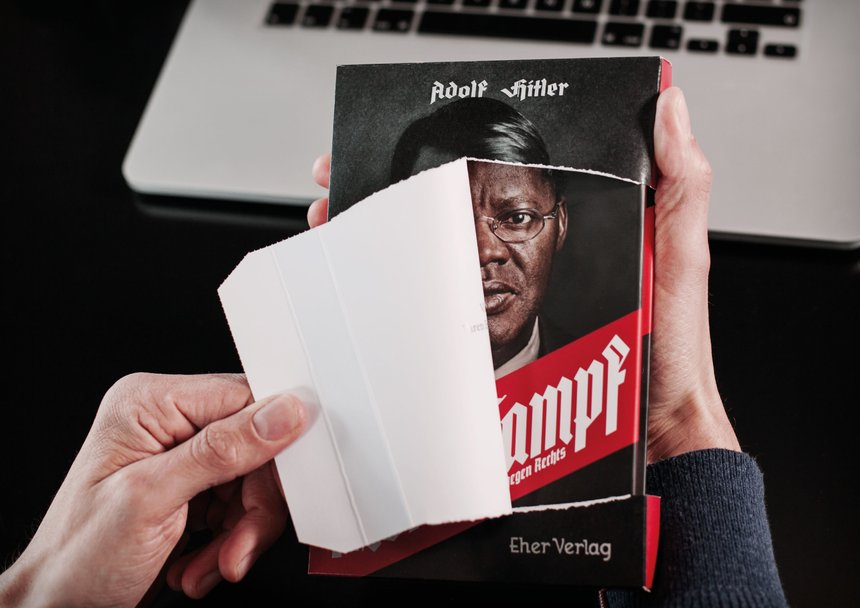 "The tear-open-mailing for ""Mein Kampf"" - Against Racism"""