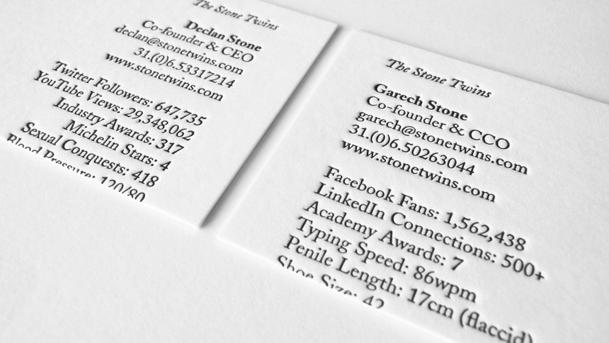 The Stone Twins Business Cards