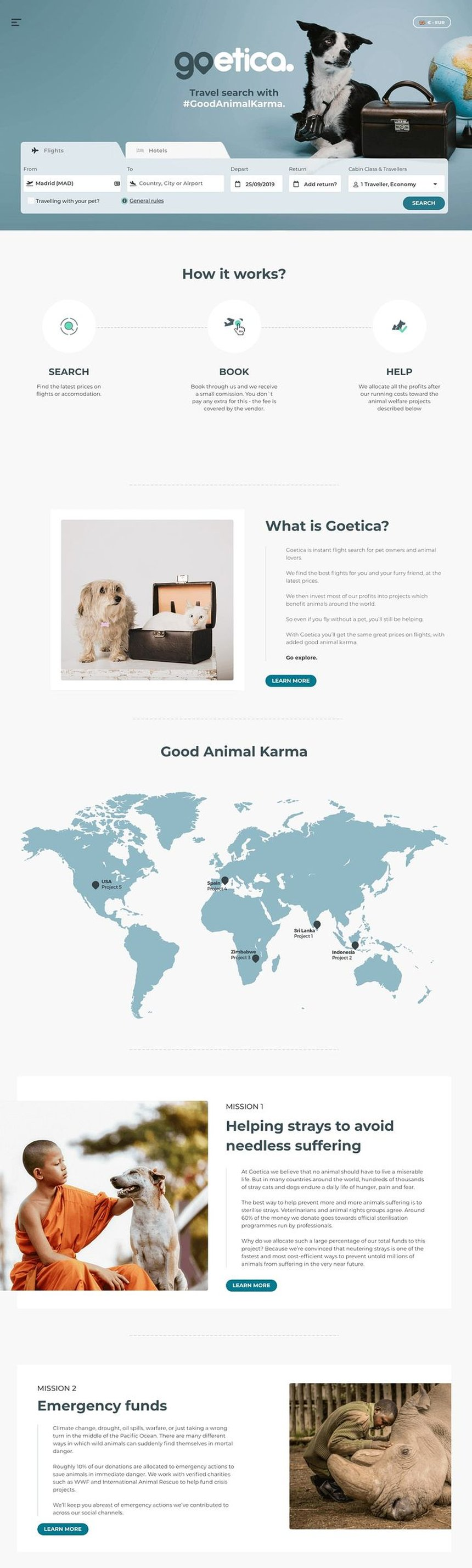 Goetica - Travel Search with #goodanimalkarma