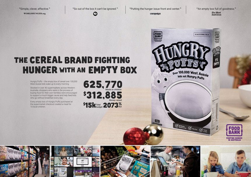 Hungry Puffs | The Brand Agency | Foodbank WA | D&AD Awards 2019 Pencil  Winner | Use of Retail | D&AD