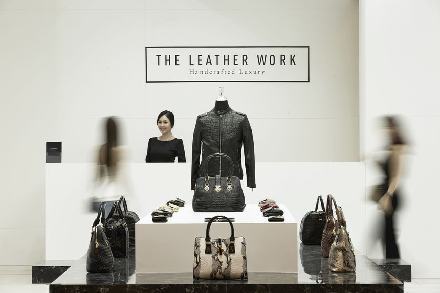 Behind the leather
