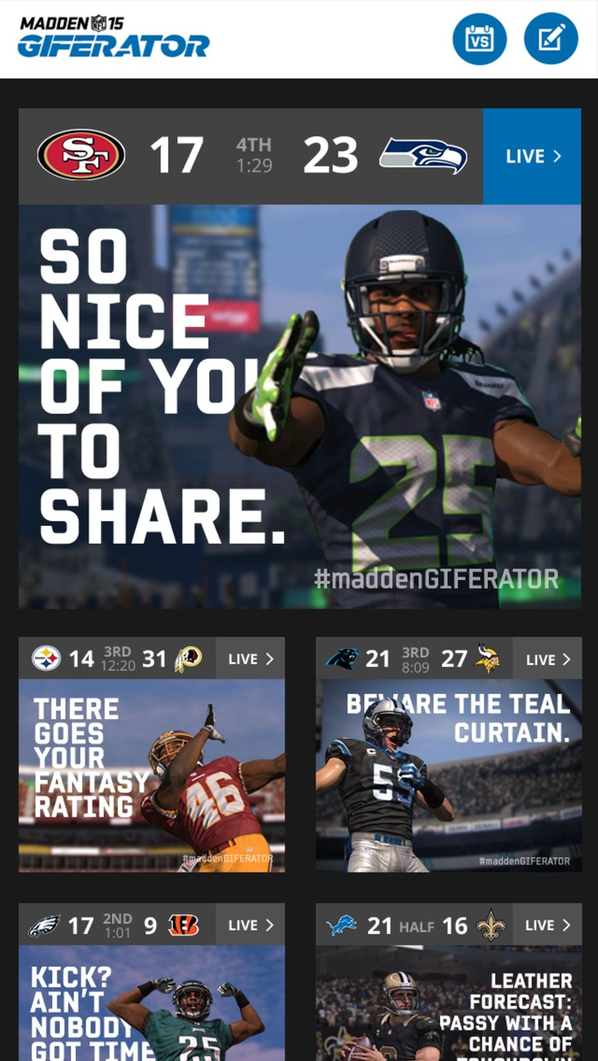 EA Sports Madden GIFERATOR: A Google Art, Copy & Code Project