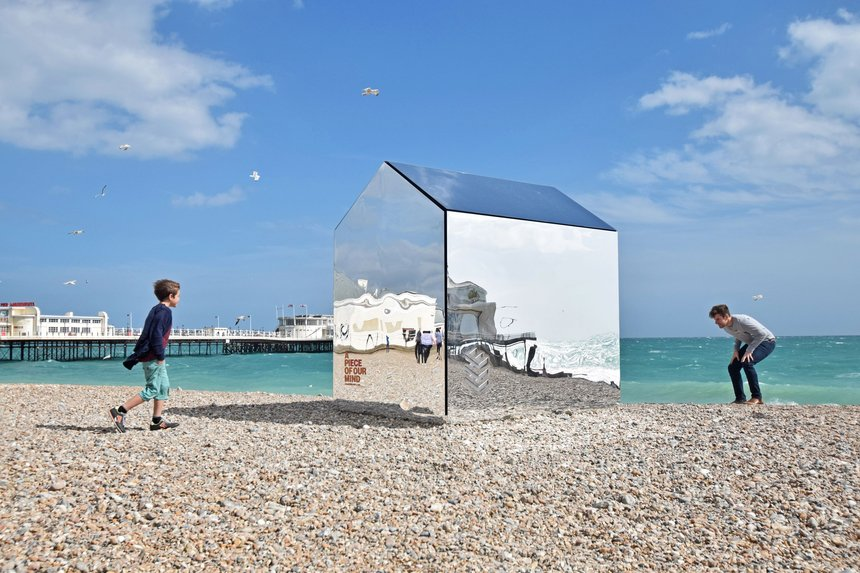 Mirrored Beach Hut